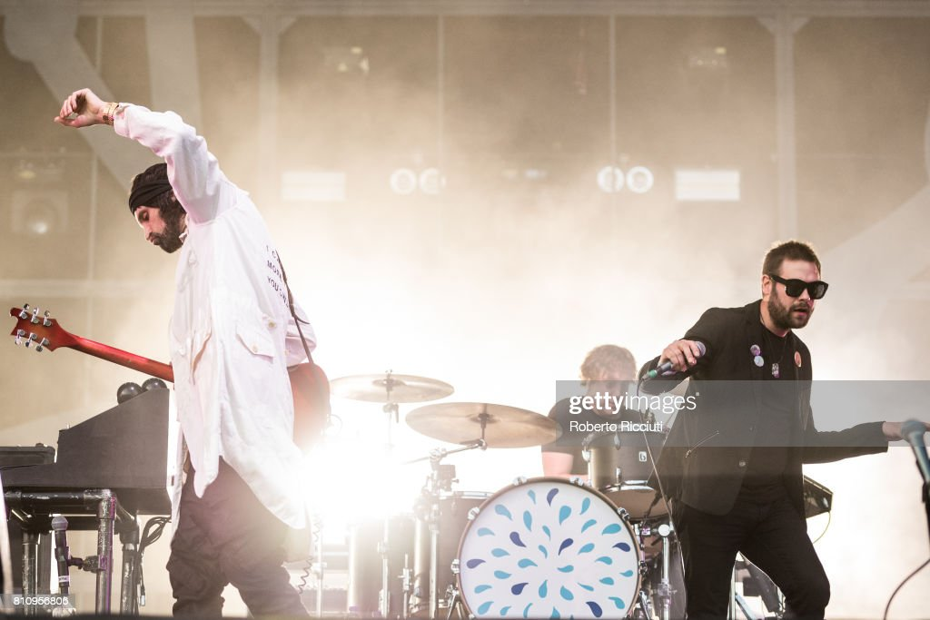 Sergio Pizzorno, Ian Matthews and Tom Meighan of English rock band Kasabian perform on stage during TRNSMT Festival Day 2 at Glasgow Green on July 8, 2017 in Glasgow, Scotland.