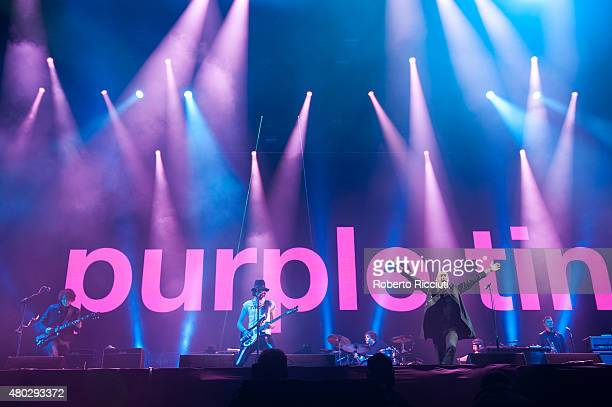 Sergio Pizzorno Ian Matthews and Tom Meighan of Kasabian perform on Main Stage during T in The Park Day 1 at Strathallan Castle on July 10 2015 in...