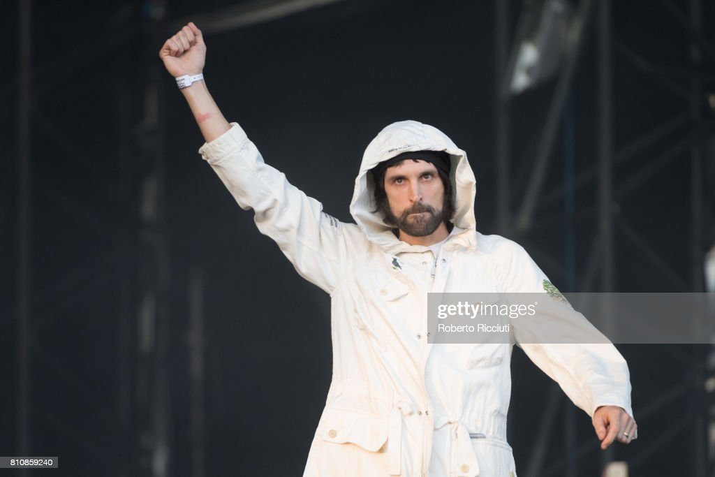 Sergio Pizzorno of English rock band Kasabian performs on stage during TRNSMT Festival Day 2 at Glasgow Green on July 8, 2017 in Glasgow, Scotland.