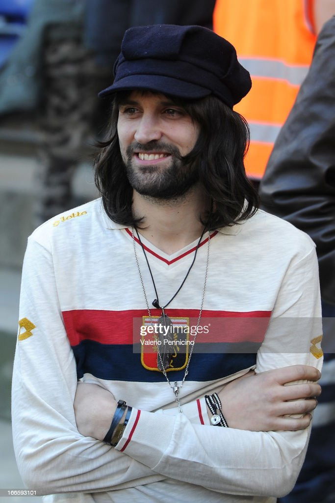 Sergio Pizzorno of Kasabian attends the Serie A match between Genoa CFC and UC Sampdoria at Stadio Luigi Ferraris on April 14, 2013 in Genova, Italy.