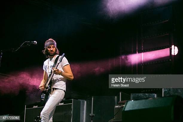Sergio Pizzorno of Kasabian performs on stage for Blended 2015 at Media City Amphitheatre on April 30 2015 in Dubai United Arab Emirates