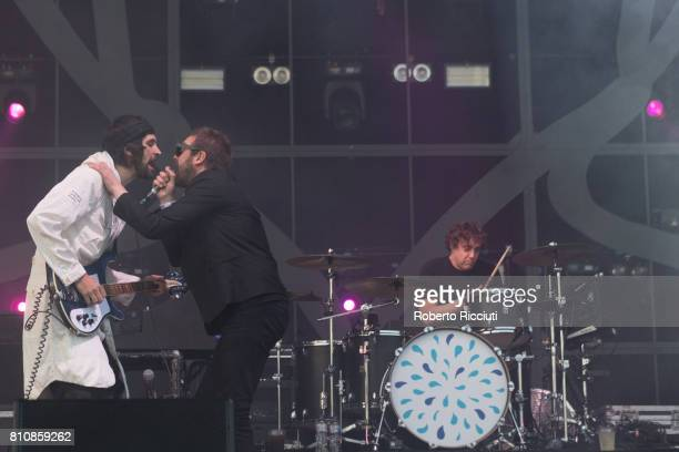 Sergio Pizzorno Tom Meighan and Ian Matthews of English rock band Kasabian perform on stage during TRNSMT Festival Day 2 at Glasgow Green on July 8...