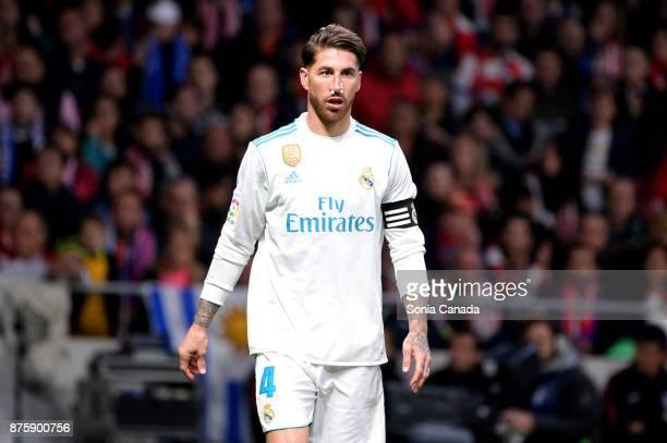 Sergio Ramos #4 of Real Madrid during The La Liga match between Club Atletico Madrid v Real Madrid at Wanda Metropolitano on November 18 2017 in...