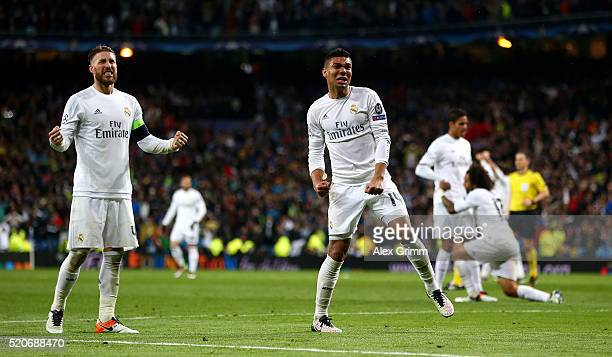 Sergio Ramos and Casemiro of Real Madrid celebrate victory and reaching the semi finals after the UEFA Champions League quarter final second leg...