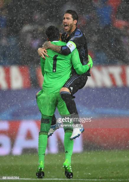 Sergio Ramos and Keylor Navas of Real Madrid celebrate at the end of the UEFA Champions League Semi Final second leg match between Club Atletico de...