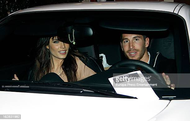 Sergio Ramos and Pilar Rubio are seen leaving a restaurant on February 13 2013 in Madrid Spain