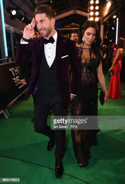 Sergio Ramos and Pilar Rubio arrives on the green carpet for The Best FIFA Football Awards at The London Palladium on October 23 2017 in London...
