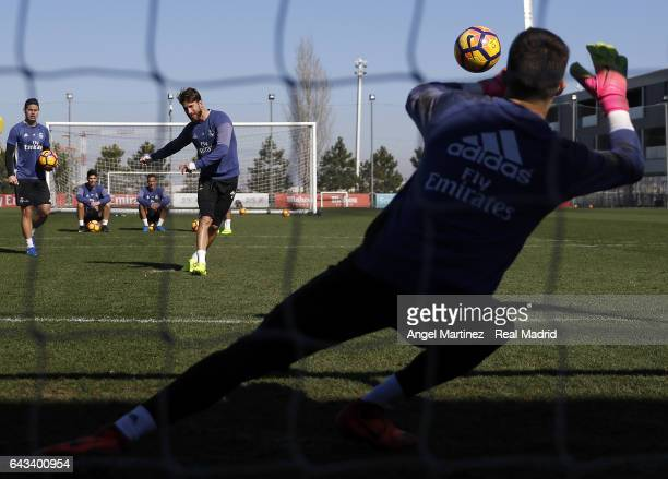 Sergio Ramos and Ruben Yanez of Real Madrid in action during a training session at Valdebebas training ground on February 21 2017 in Madrid Spain