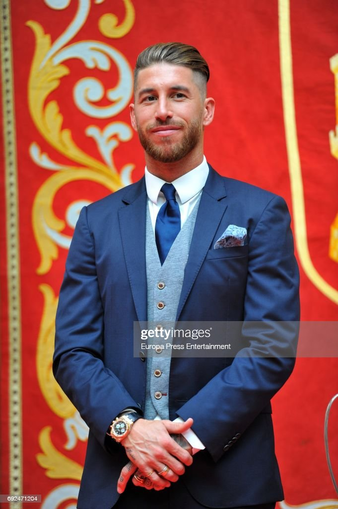 Sergio Ramos celebrates during the Real Madrid celebration the day after winning the 12th UEFA Champions League Final at Casa de Correos on June 4, 2017 in Madrid, Spain.