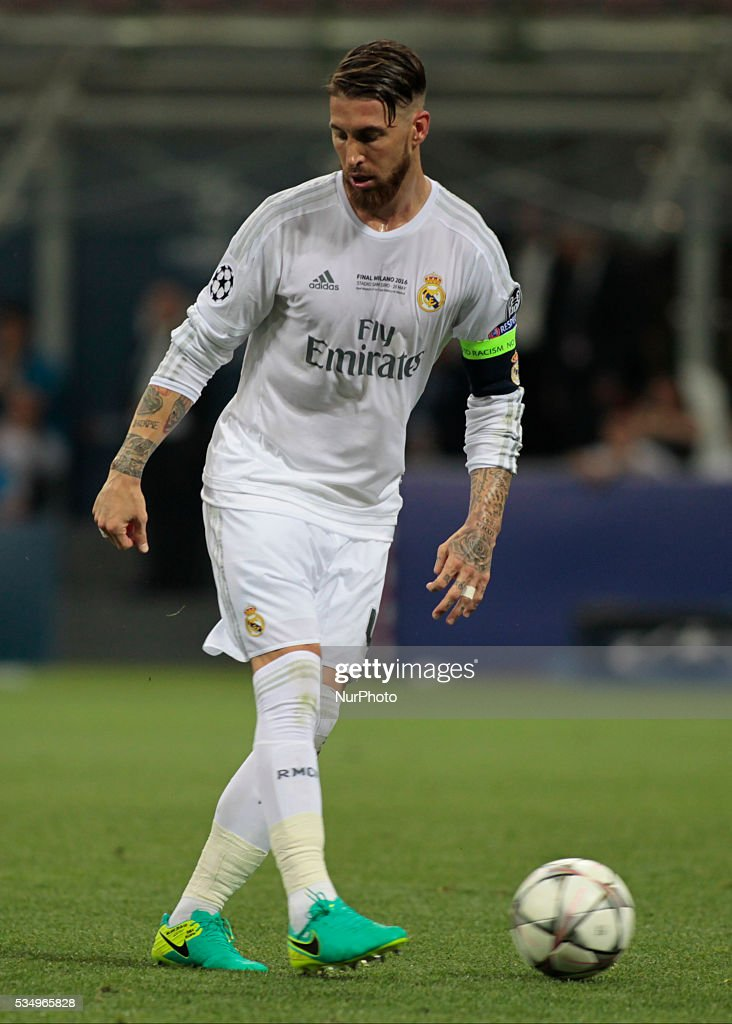 Sergio Ramos (4) during the Champions League final between Real Madrid CF and Club Atletico de Madrid at the Giuseppe Meazza Stafium of Milan on may 28, 2016 in Milan, Italy.