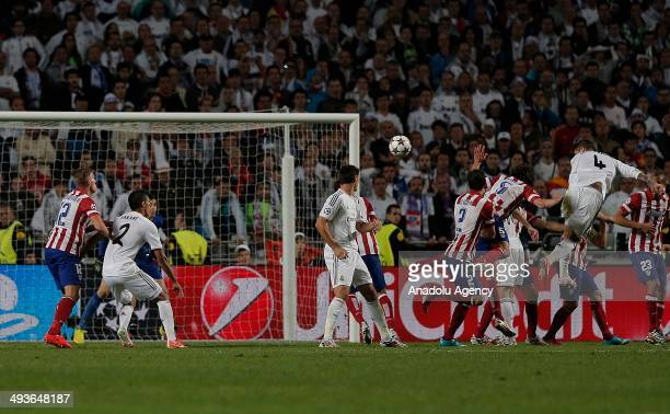 Sergio Ramos heads to the ball during the UEFA Champions League Final match between Real Madrid and Atletico de Madrid at Estadio da Luz on May 24...