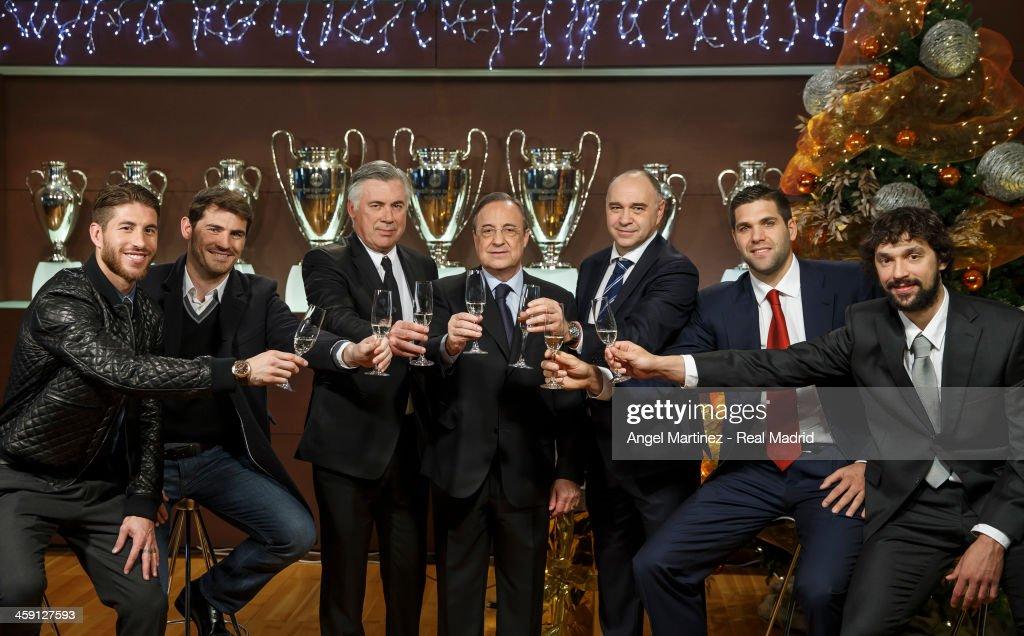 Sergio Ramos Iker Casillas head coach Carlo Ancelotti president Florentino Perez basketball head coach Pablo Laso basketball player Felipe Reyes and...