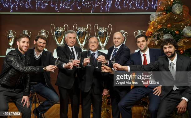 Sergio Ramos Iker Casillas head coach Carlo Ancelotti president Florentino Perez basketball head coach Pablo Laso basketball player Felipe Reyes and...