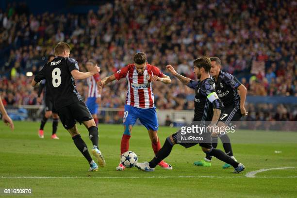 Sergio Ramos Kross of Real Madrid and Carrasco of Atletico de Madrid in action during the match between Real Madrid CF vs Atletico de Madrid as part...