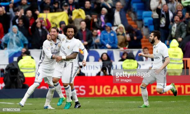 Sergio Ramos Marcelo and Marco Asensio of Real Madrid celebrates his team`s second goal during the La Liga match between Real Madrid CF and Valencia...