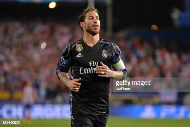 Sergio Ramos of Madrid reacts during the match between Real Madrid CF vs Atletico de Madrid as part of EUFA Champions League at Estadio Santiago...