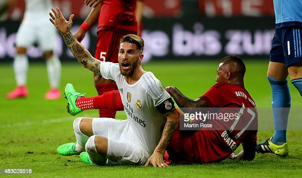 Sergio Ramos of Real Madird reacts during the Audi Cup 2015 final match between FC Bayern Muenchen and Real Madrid at Allianz Arena on August 5 2015...