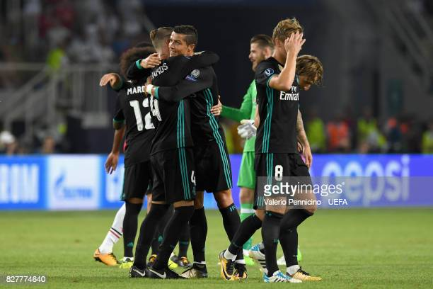 Sergio Ramos of Real Madrid and Cristiano Ronaldo of Real Madrid celebrate victory after the UEFA Super Cup final between Real Madrid and Manchester...