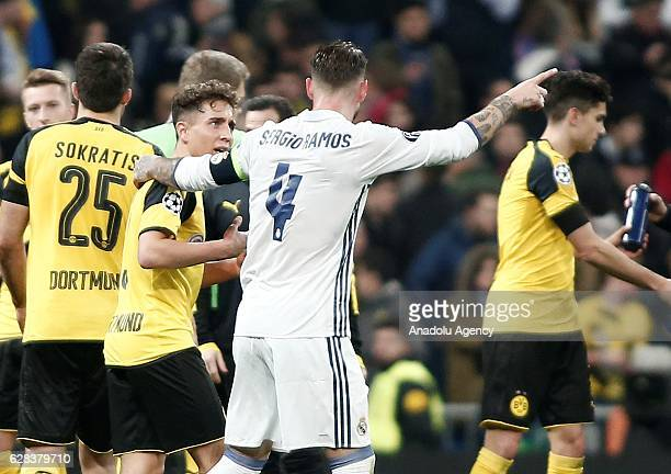 Sergio Ramos of Real Madrid and Emre Mor of Borussia Dortmund congratulate each other during the UEFA Champions League Group F football match between...