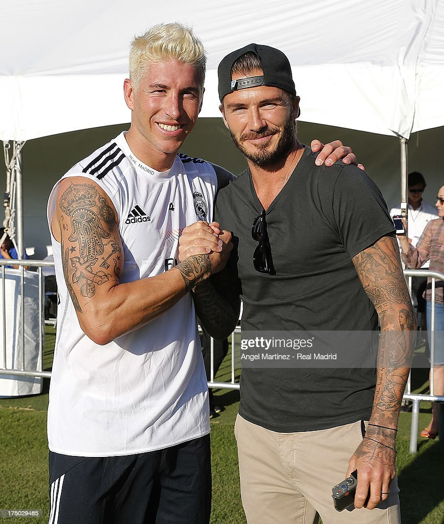 Sergio Ramos (L) of Real Madrid and former player <a gi-track='captionPersonalityLinkClicked' href=/galleries/search?phrase=David+Beckham&family=editorial&specificpeople=158480 ng-click='$event.stopPropagation()'>David Beckham</a> pose after a training session at UCLA Campus on July 29, 2013 in Los Angeles, California.