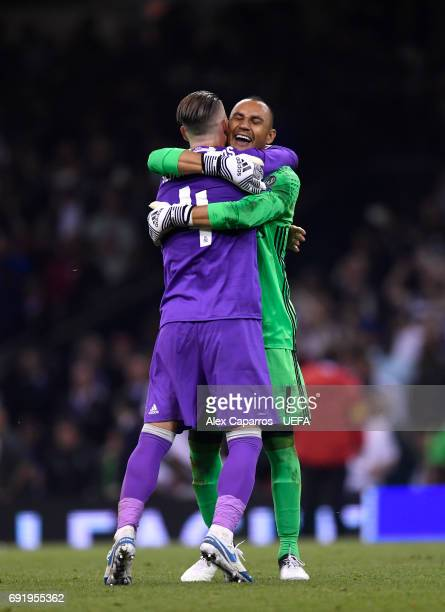Sergio Ramos of Real Madrid and Keylor Navas of Real Madrid celebrate victory after the UEFA Champions League Final between Juventus and Real Madrid...