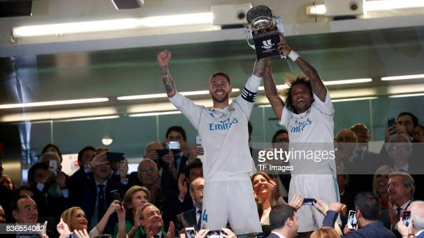 Sergio Ramos of Real Madrid and Marcelo of Real Madrid celebrates winning the Supercopa de Espana Supercopa Final 2nd Leg match between Real Madrid...
