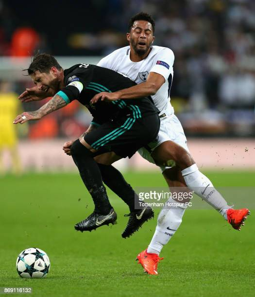 Sergio Ramos of Real Madrid and Mousa Dembele of Tottenham Hotspur clash during the UEFA Champions League group H match between Tottenham Hotspur and...