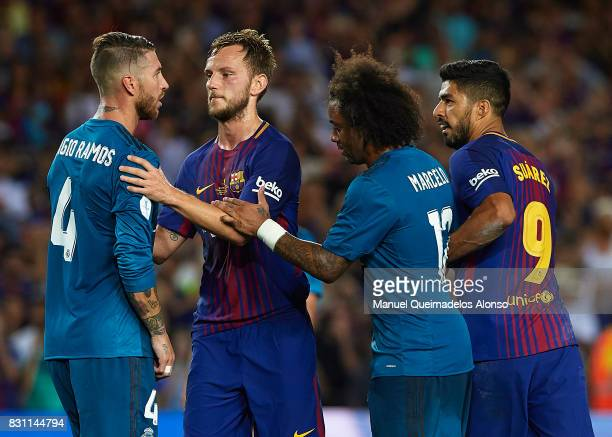Sergio Ramos of Real Madrid argues to Luis Suarez of Barcelona during the Supercopa de Espana Supercopa Final 1st Leg match between FC Barcelona and...