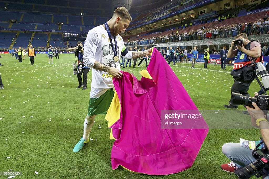 Sergio Ramos of Real Madrid as a toreador during the UEFA Champions League final match between Real Madrid and Atletico Madrid on May 28, 2016 at the Giuseppe Meazza San Siro stadium in Milan, Italy.