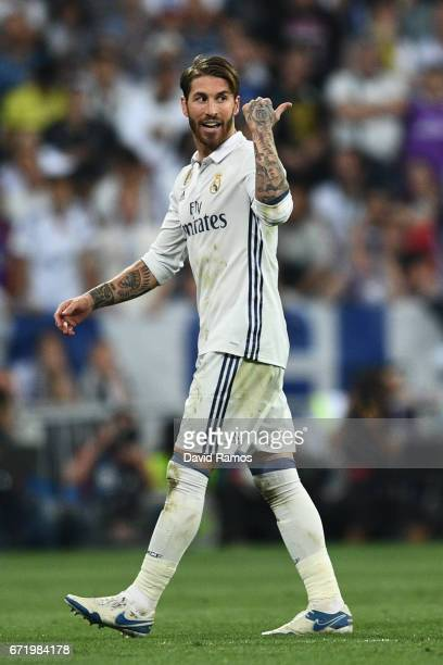 Sergio Ramos of Real Madrid as he is sent off during the La Liga match between Real Madrid CF and FC Barcelona at Estadio Bernabeu on April 23 2017...