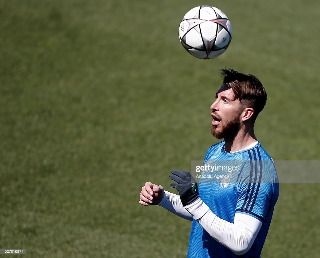 Sergio Ramos of Real Madrid attends training session ahead of UEFA Champions League semi-final second leg football match between Real Madrid CF and Manchester City at Valdebebas training ground in Madrid, Spain on May 3, 2016.
