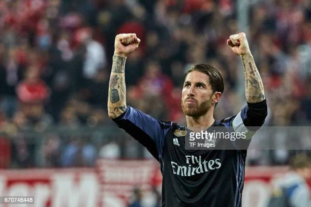 Sergio Ramos of Real Madrid celebrate their win after the UEFA Champions League Quarter Final first leg match between FC Bayern Muenchen and Real...