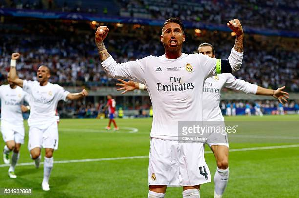 Sergio Ramos of Real Madrid celebrates after scoiring the opening goal during the UEFA Champions League Final match between Real Madrid and Club...
