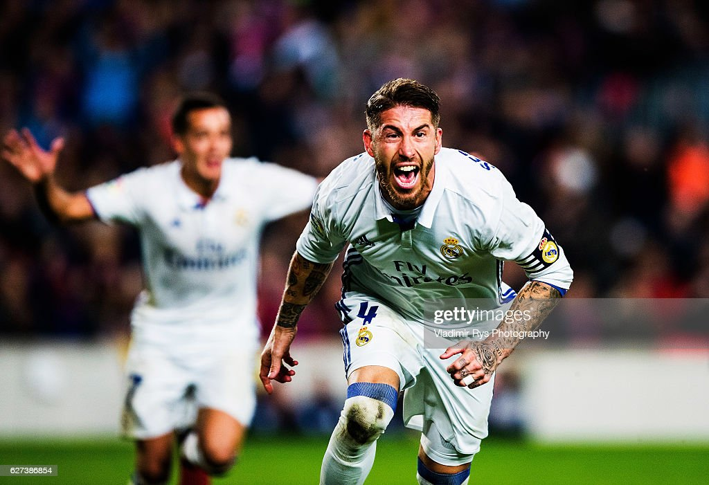 Sergio Ramos of Real Madrid celebrates after scoring an equalising goal for his team during the La Liga match between FC Barcelona and Real Madrid CF...