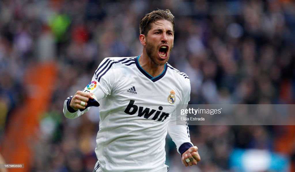 Sergio Ramos of Real Madrid celebrates after scoring during the La Liga match between Real Madrid and FC Barcelona at Estadio Santiago Bernabeu on March 2, 2013 in Madrid, Spain.