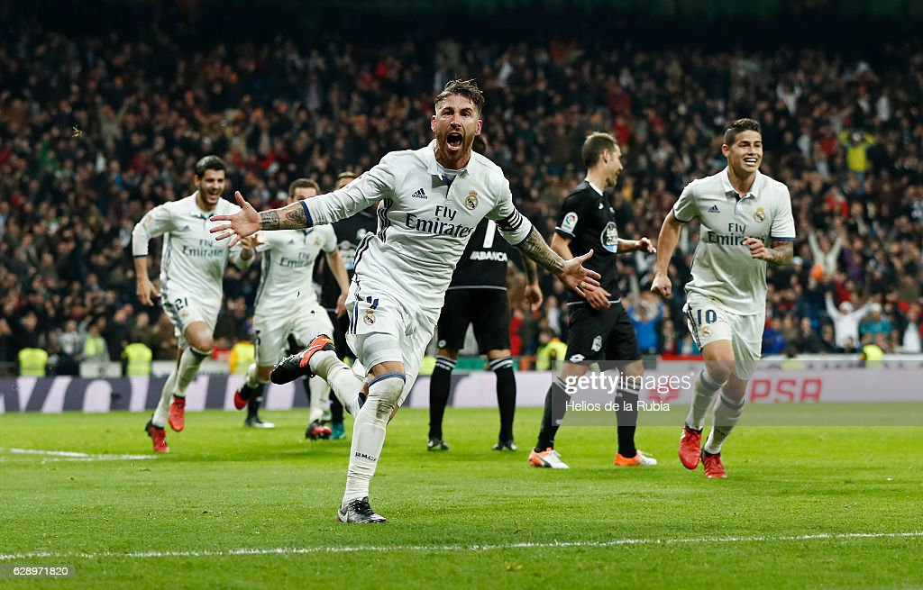 Sergio Ramos of Real Madrid celebrates after scoring during the La Liga match between Real Madrid CF and RC Deportivo La Coruna on December 10, 2016 in Madrid, Spain.