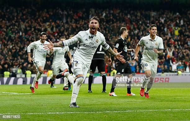 Sergio Ramos of Real Madrid celebrates after scoring during the La Liga match between Real Madrid CF and RC Deportivo La Coruna on December 10 2016...