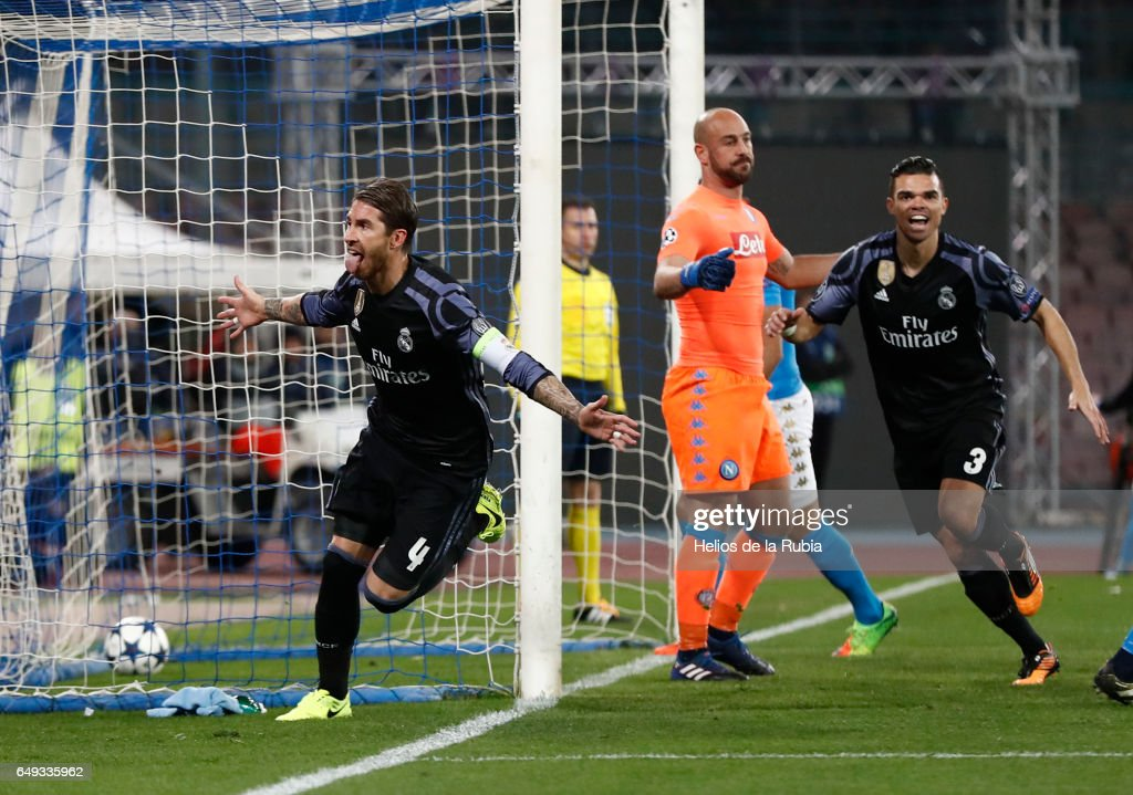 Sergio Ramos of Real Madrid celebrates after scoring during the UEFA Champions League Round of 16 second leg match between SSC Napoli and Real Madrid CF at Stadio San Paolo on March 7, 2017 in Naples, Italy.