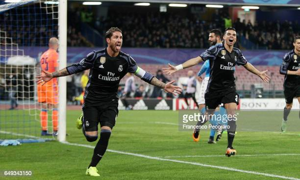 Sergio Ramos of Real Madrid celebrates after scoring goal 11 during the UEFA Champions League Round of 16 second leg match between SSC Napoli and...