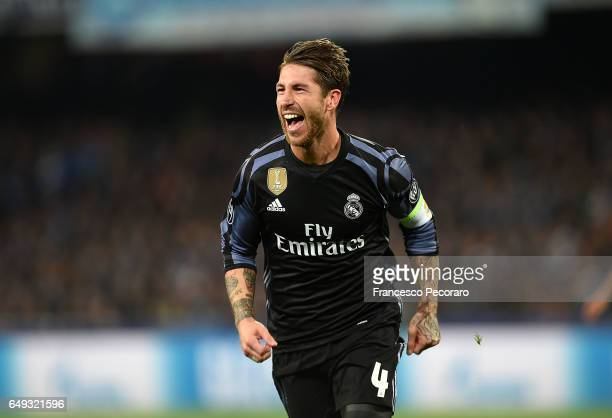 Sergio Ramos of Real Madrid celebrates after scoring goal 12 during the UEFA Champions League Round of 16 second leg match between SSC Napoli and...