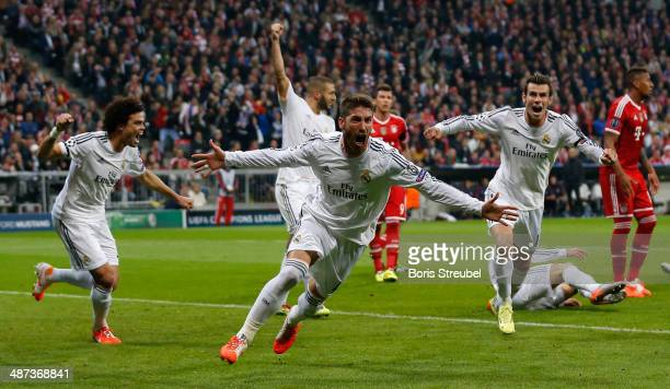 Sergio Ramos of Real Madrid celebrates after scoring his team's first goal during the UEFA Champions League semifinal second leg match between FC...