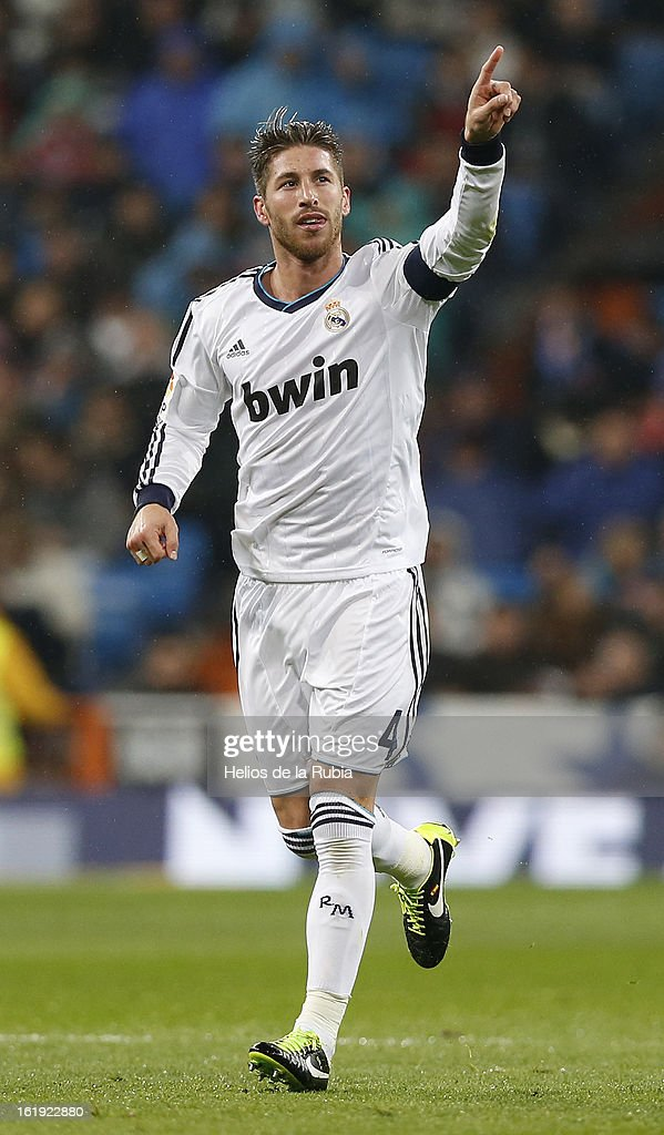 Sergio Ramos of Real Madrid celebrates after scoring his team's second goal during the La Liga match between Real Madrid and Rayo Vallecano at Estadio Santiago Bernabeu on February 17, 2013 in Madrid, Spain.