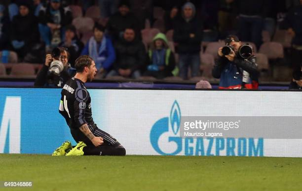 Sergio Ramos of Real Madrid celebrates after scoring his team's second goal during the UEFA Champions League Round of 16 second leg match between SSC...