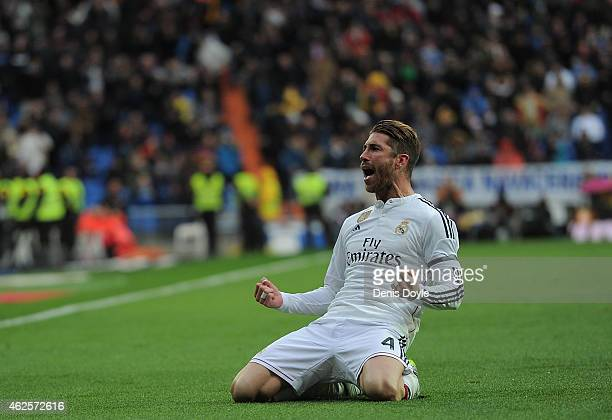 Sergio Ramos of Real Madrid celebrates after scoring Real's 2nd goal during the La Liga match between Real Madrid CF and Real Sociedad de Futbol at...