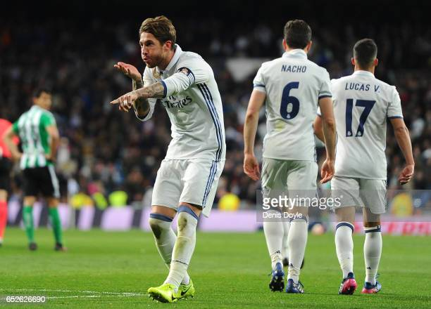 Sergio Ramos of Real Madrid celebrates after scoring Real's 2nd goal during the La Liga match between Real Madrid CF and Real Betis Balompie at...