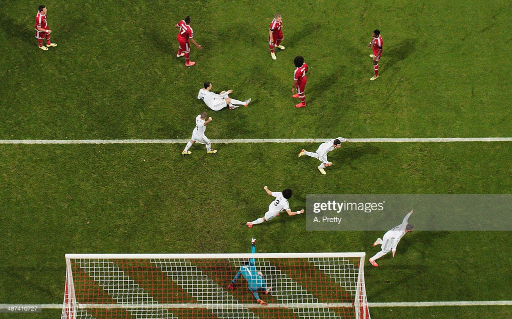 Sergio Ramos of Real Madrid celebrates after scoring the second goal during the UEFA Champions League semi-final second leg match between FC Bayern Muenchen and Real Madrid at Allianz Arena on April 29, 2014 in Munich, Germany.