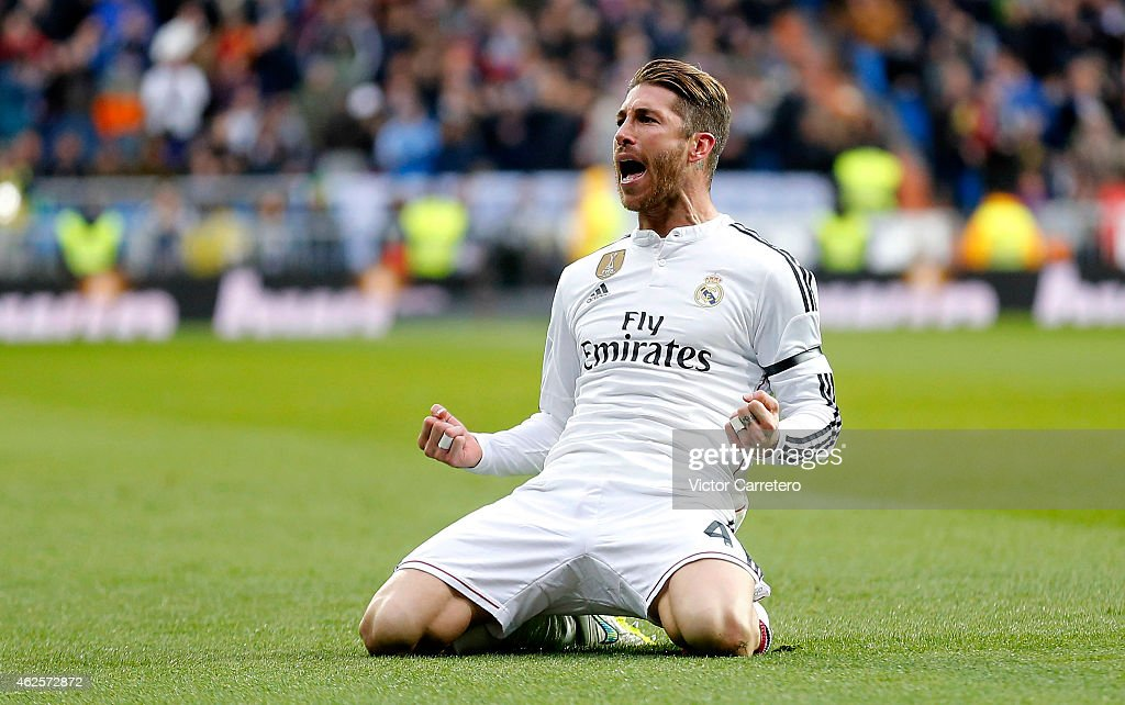Sergio Ramos of Real Madrid celebrates after scoring their second goal during the La Liga match between Real Madrid CF and Real Sociedad at Estadio Santiago Bernabeu on January 31, 2015 in Madrid, Spain.