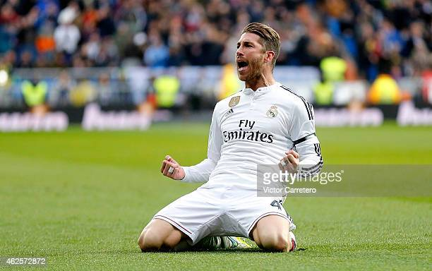 Sergio Ramos of Real Madrid celebrates after scoring their second goal during the La Liga match between Real Madrid CF and Real Sociedad at Estadio...