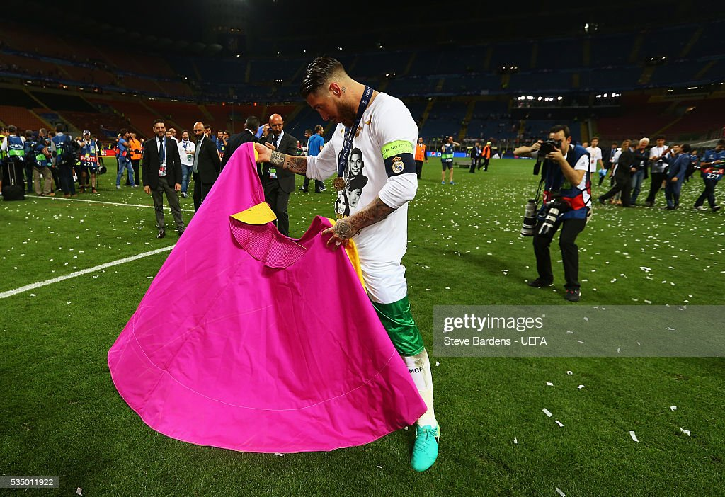 Sergio Ramos of Real Madrid celebrates after the UEFA Champions League Final between Real Madrid and Club Atletico de Madrid at Stadio Giuseppe Meazza on May 28, 2016 in Milan, Italy.