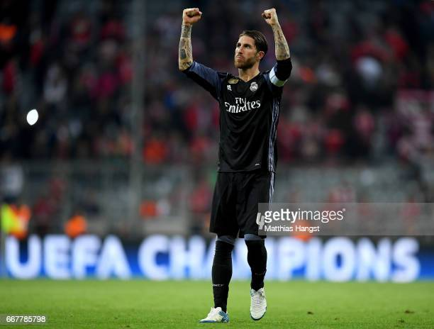 Sergio Ramos of Real Madrid celebrates after the UEFA Champions League Quarter Final first leg match between FC Bayern Muenchen and Real Madrid CF at...